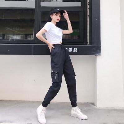 Compre Para Mujer Pantalones De Diseno Caliente Bolsillos Grandes Mujeres De Las Bragas De Cintura Alta Casual Ropa Suelta Pantalones Tacticos Pantalones De Hip Hop De Los Pantalones De Alta Calidad A