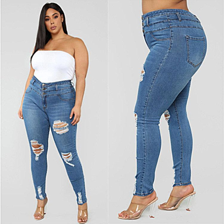 Designer Femmes Jeans 2020 Femmes taille haute Ripped Jeans Taille Plus Femmes Pantalons Mode Skinny Crayon Womens Pantalons Solid Color