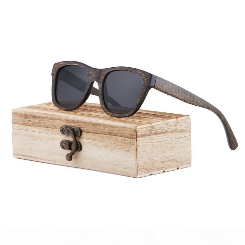 Occhiali da sole in legno Donne Goggle Specchio quadrato di bambù degli occhiali da sole di bambù occhiali da sole polarizzati di bambù d'epoca per l'uomo per le donne
