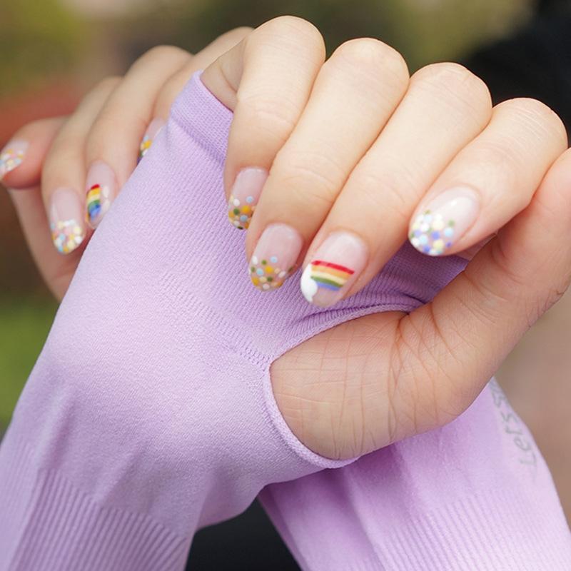 Sun-proof female high-elastic silk male driving UV-proof arm Net ice sleeve Red Ice sleeve