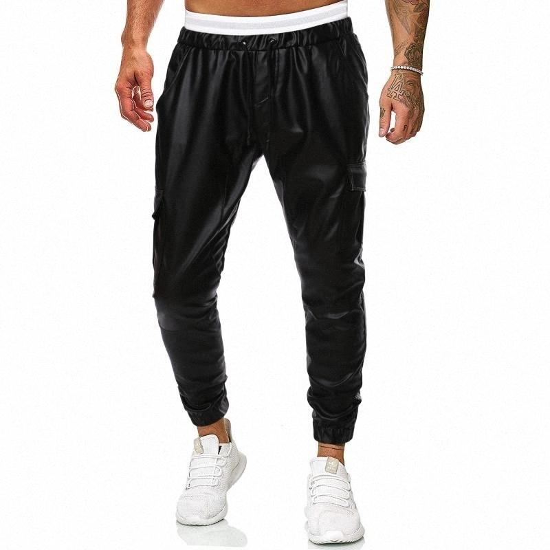 Men pants fashion black PU leather beam foot pants men fake fur casual trousers drawstring elastic waist vcPa#