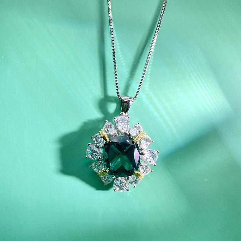 Dainty стерлингового серебра Роскошный цветок ожерелье с бриллиантами Created для женщин счастливицы ожерелье для партии