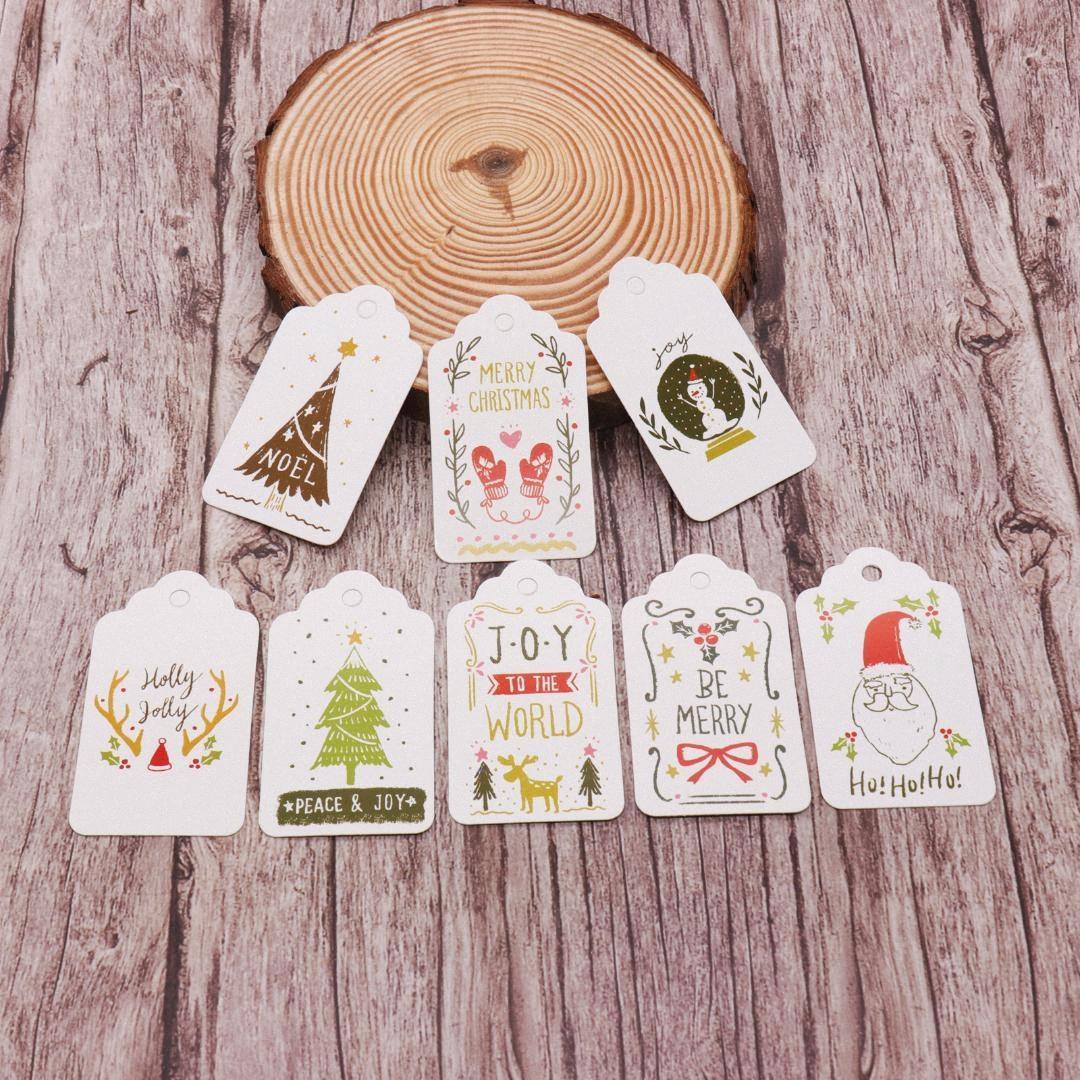 50pcs / lot multi Estilo Natal DIY Unique Gift Tag de papel cartão pequenos Opcional Cadeia DIY Craft Pendure tag etiqueta Party Decor wUMk #