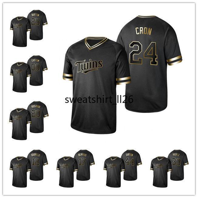 2019 Golden Edition Minnesotaİkizler ERKEKLER KADINLAR GENÇLİK 23 Nelson Cruz 26 Max Kepler Siyah beyzbol Jersey