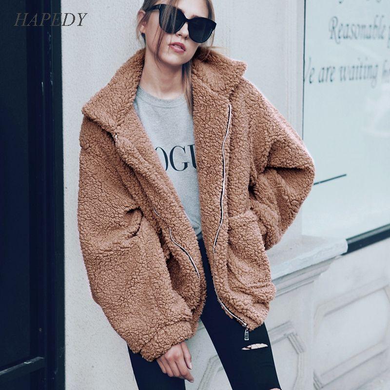 HAPEDY Faux capa de las mujeres 2020 otoño invierno caliente grueso de la cremallera chaqueta de piel de felpa Mujer Abrigo ocasional del bolsillo de peluche piel Outwear