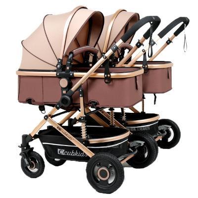 توأم عربات الطفل ضوء أضعاف اثنين من الطفل عربة أضعاف الوليد المشهد عالية انفصال مزدوجة أطفال سيارة هدايا مجانية