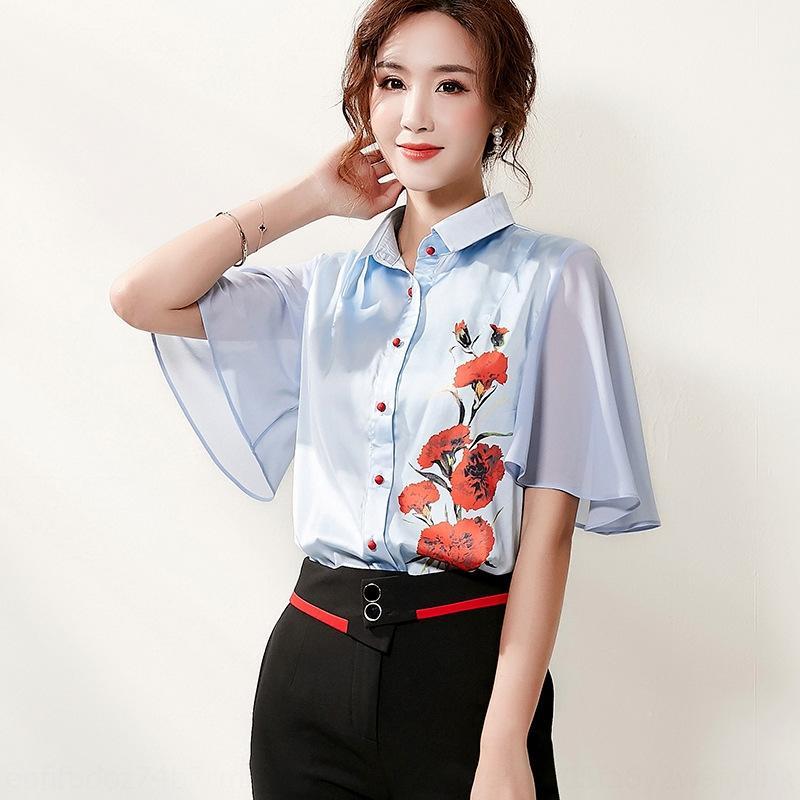 Mh0HW KBylD 2020 profesional nueva ropa de mujer al estilo coreano camisa de color Impreso Top bordado de la solapa de contraste superior del verano bordada ver