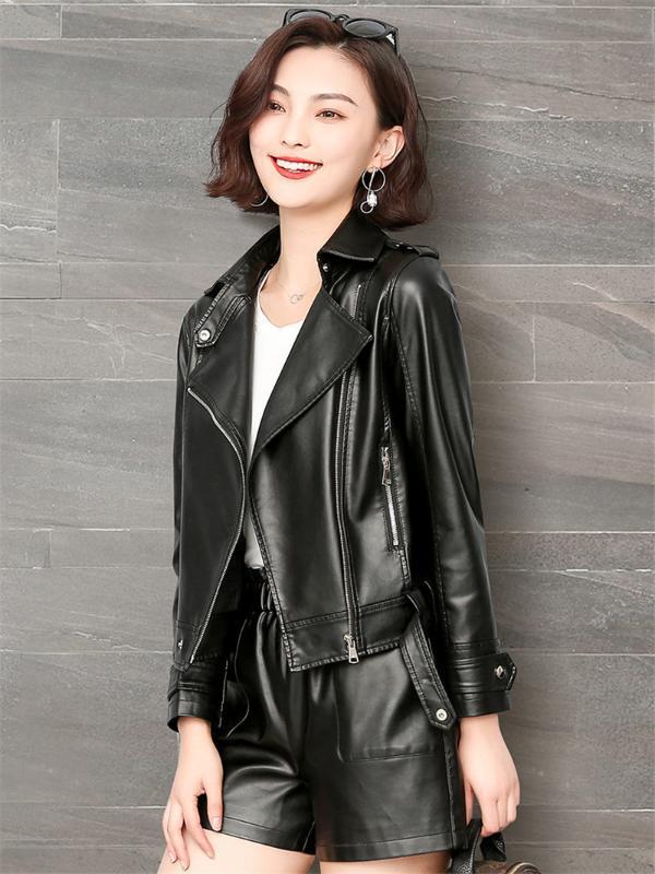 Giacca in pelle nuova collezione Autunno Inverno donne Black Woman Zipper breve cappotto nero Femmina punk Bomber Jaqueta Plus Size 5XL Outwear K869