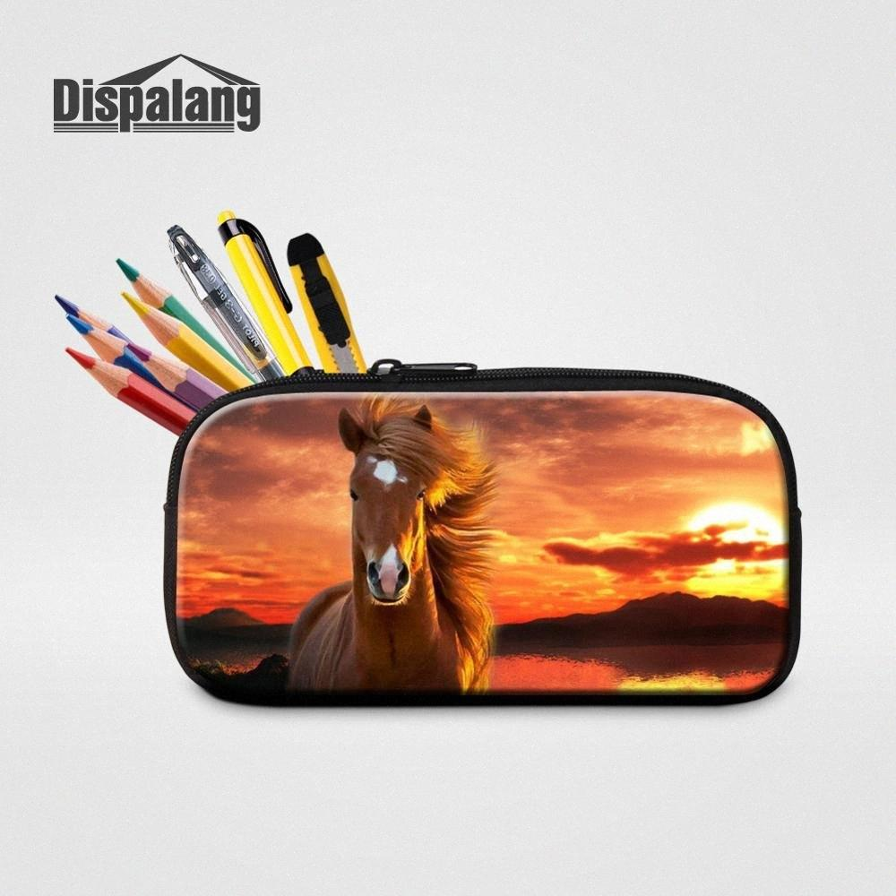 Dispalang Horse Pencil Case Children School Stationery Animal Print Pencil Bag for Office Supplies Womens Cosmetic Bag sa9f#
