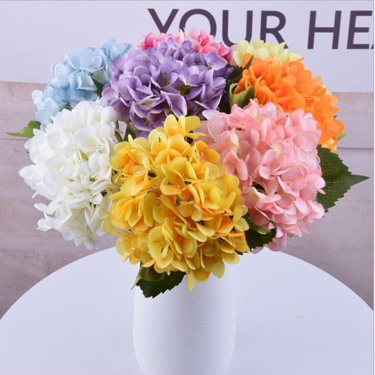 Artificiale Ortensia Fiore Falso singolo festa di nozze Hydrangea Bouquet Floreale Fiori Faux Le piante fioriscono 16 colori KKA6759
