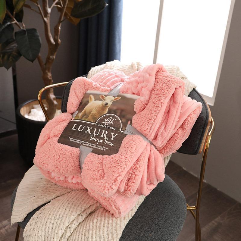 Rosa 28Solid Amarelo Flanela Inverno cobertor quente lance para o sofá macio verde Camel Colcha de cama cama