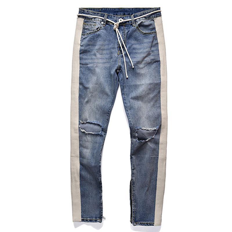 Plegie 2020 nuevos pantalones vaqueros de los hombres flacos hombres Streetwear Ripped jeans para hombre de la cremallera Equipada Bottoms HipHop Homme Denim
