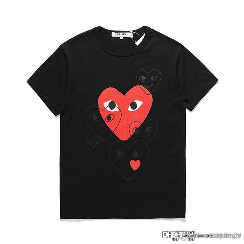 18ss Siyah COM DES G Garcons CDG TATİLİ Kalp Yeni OYUN tişört yeni büyük kırmızı kalpler ifade aşk çiftler gömlek elbise sınırlamak