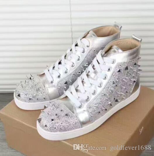 transporte da gota nova ocasional New Suede Leather Patchwork Leopardo de Ouro Spikes Toe High Top Red Sneakers fundo para mens barato trem homens lazer