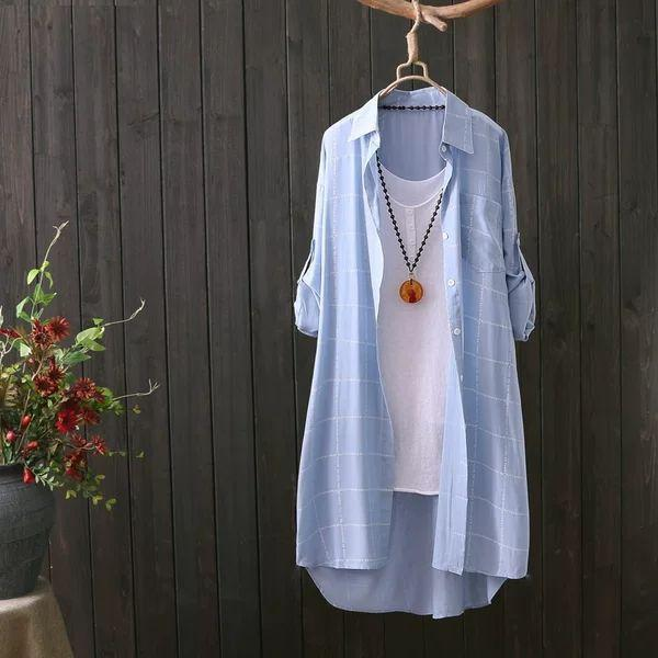 Новые женщины вскользь Базовая осень весна Блуза Топ клетчатая рубашка с длинным рукавом плюс размер M ~ 3XL