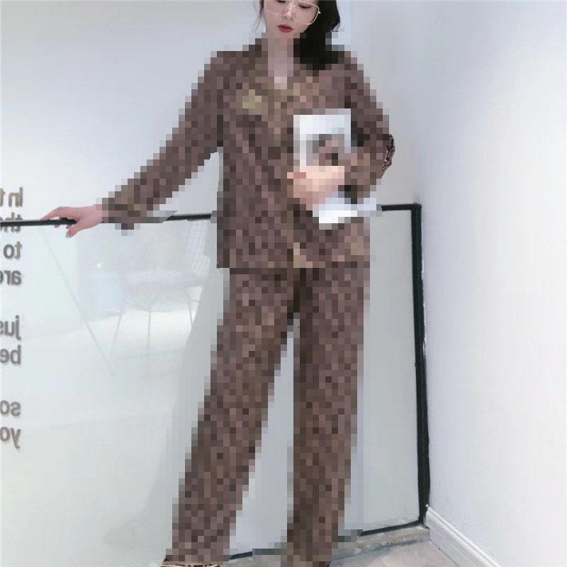 Tops Carta Pijamas clássico Impresso Top grau de qualidade elevado Mulheres Pijamas Set Super Macio mangas compridas do sono