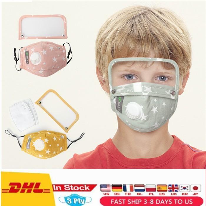 Amerikaanse voorraad Newdesigner-masker met ademhalingsklep Kinderen gedrukt herbruikbaar wasbaar beschermende stofdicht Earloop Katoenen Maskers Verwijderbaar Oogschild