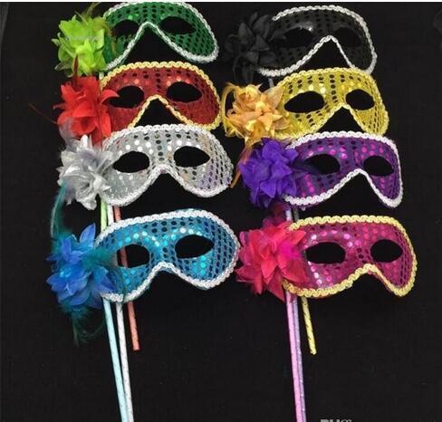2017 Nuovo veneziana metà Paillettes faccia mascherina del fiore portato mascherina del partito di disegno colorato Maschera sexy di Halloween di Natale danza nuziale del partito