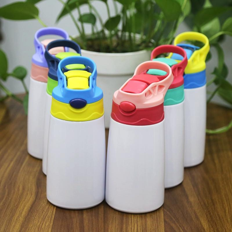 Wholeasle 12oz Sublime Boşluklar Tumblers Sippy Bardaklar kolu güvenliği Çocuklar Su Şişesi Flip Paslanmaz Çelik Termos Su Şişeleri