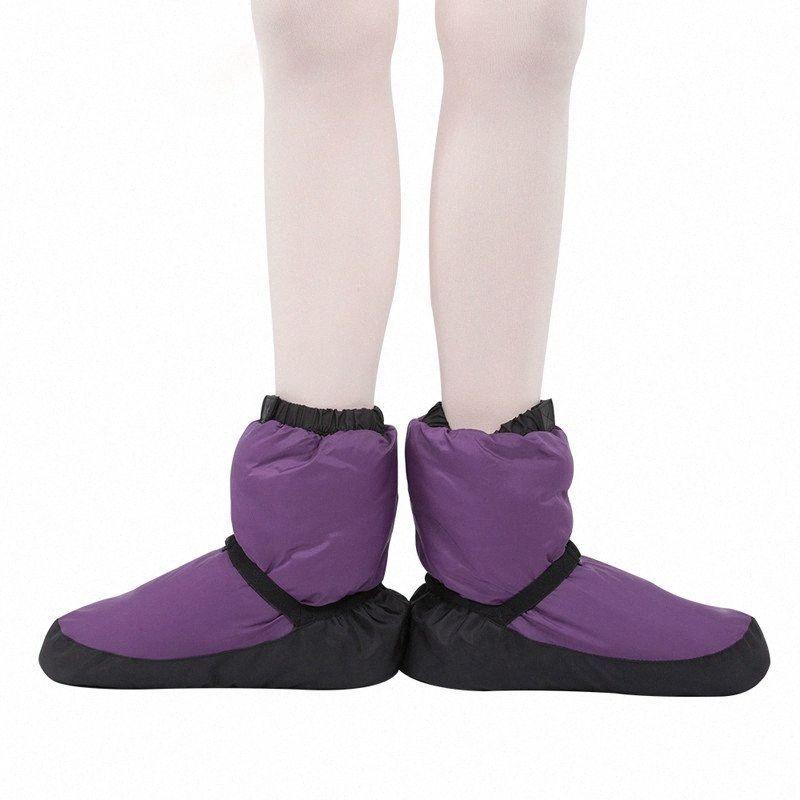 Balletto caldi Stivaletti per le donne Pointe Dance Shoes morbida Danza Snow Boots Inverno Giù termica Per Donne Viola Nero p4Ox #