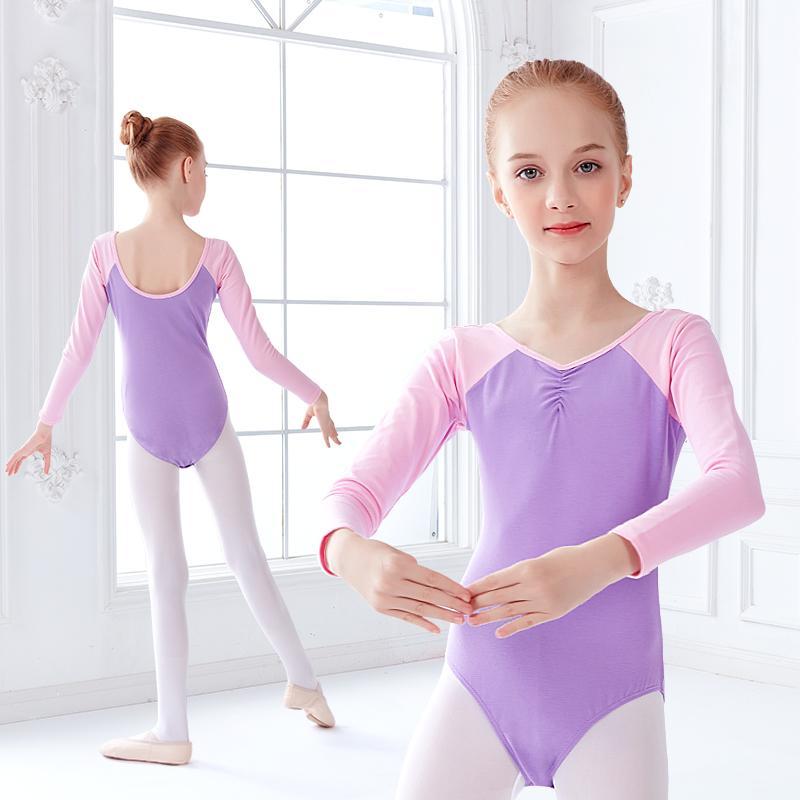 Chicas del ballet Colores de baile para niños Maillots Conflicto desgaste de la danza de manga larga traje de baño Gimnasia Body