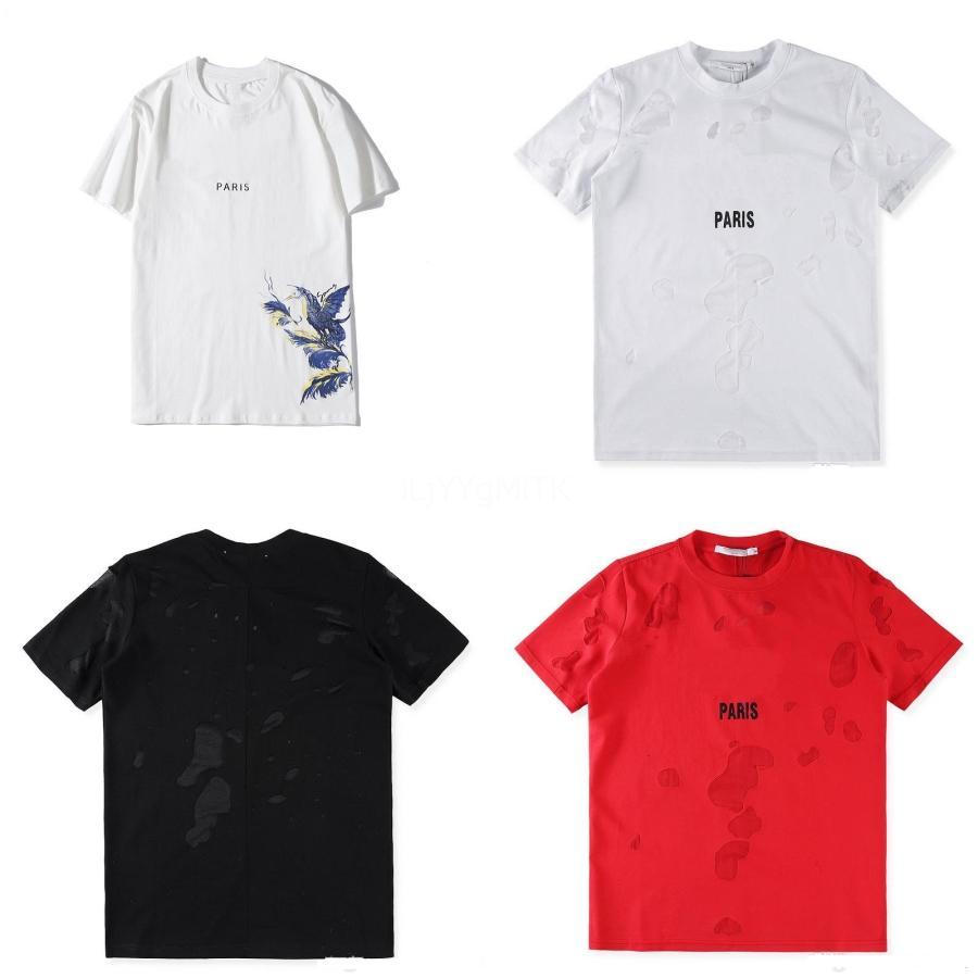Alla moda di nuovo uomini dimagriscono di stampa della lettera del collare rotondo manica corta T-shirt Tee Tops 4 colori D07 # QA138