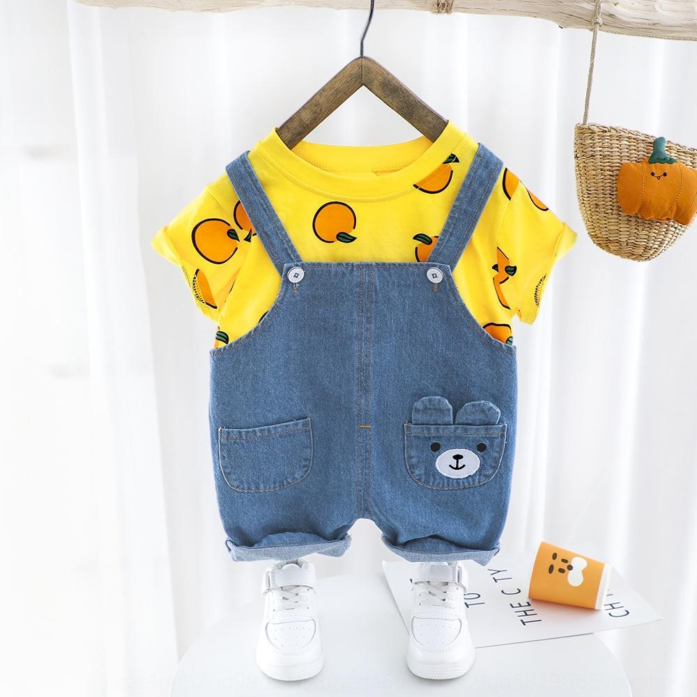 costume en direct d'été nouveau pantalon denim jarretelle orange dessin animé Sling coton écharpe deux pièces costume masculin et féminin bébé neutre