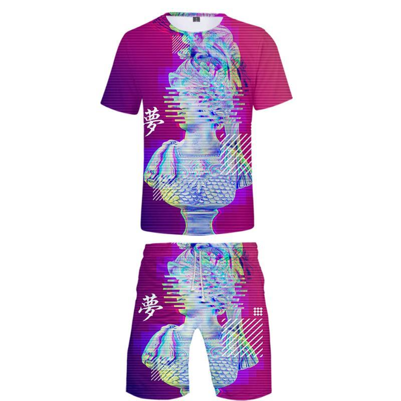 Vaporwave 3D Impresso Two Piece Set Moda Verão manga curta T-shirt + Praia Shorts 2020 Hot Sale roupa ocasional Streetwear