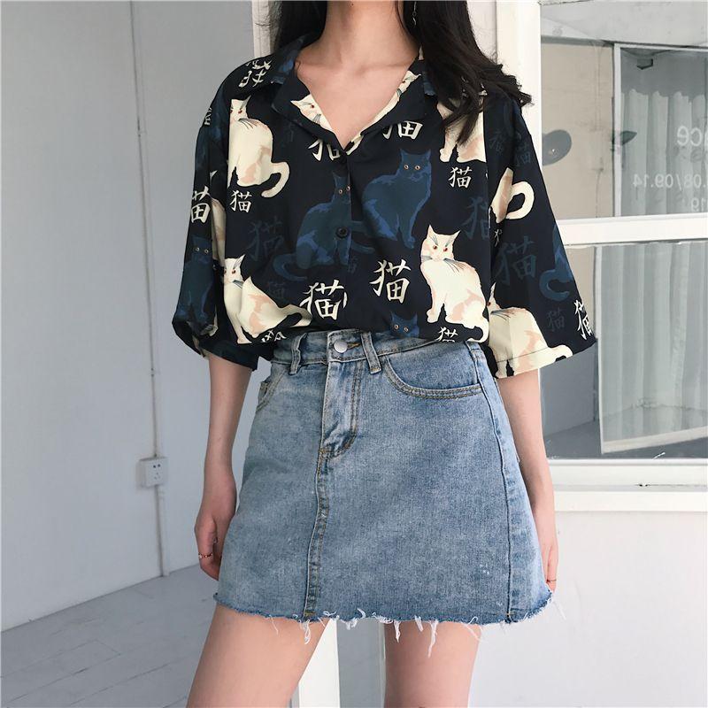 Woherb Harajuku femmes Tops et blouses 2020 Vêtements Mode coréenne mignonne Chemises Kawaii chat de bande dessinée imprimé animal en vrac Blusas CX200709
