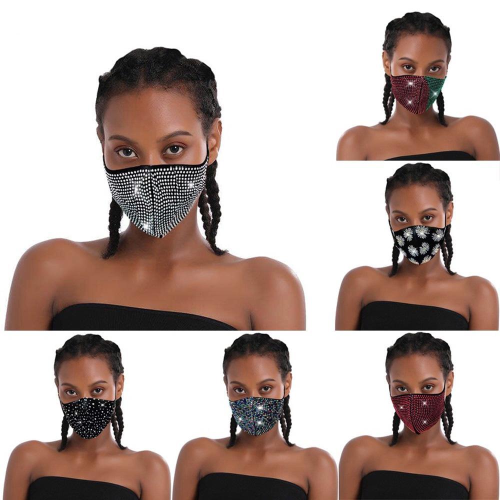 Rhinestones Face Mask Sequins Mouth Cover Mask Fashion Bling Bling Protective PM2.5 Dustproof Washable Reuse Masks Elastic Earloop Mask