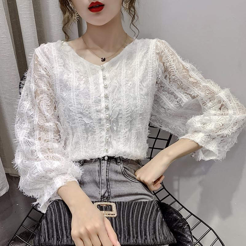 Les femmes Robes style coréen dentelle shirt 2020 Automne Nouveau Net Rouge talonnage Shirt Mode Tempérament Brochage creux Top Women