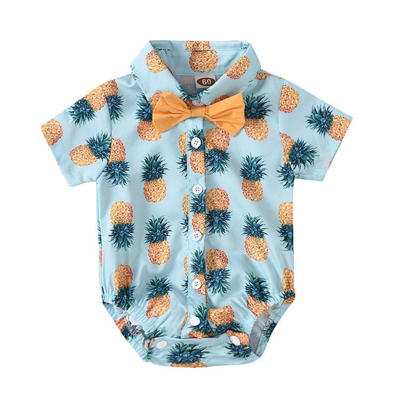 Yenidoğan Bebek Bebek Boys Giyim Kravat gentlement Ananas Baskı Romper Kısa Kollu Yaz bodysuit 3 6 12 18 Ay 2xyj #