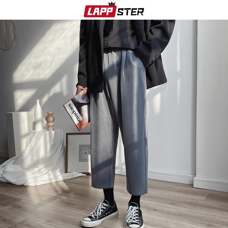 Fashions LAPPSTER Mens coreano pantaloni solidi 2020 uomini Ankel Casuale Lunghezza Harajuku Suit Pants jogging Vintage Nero Pantaloni felpa CX200729
