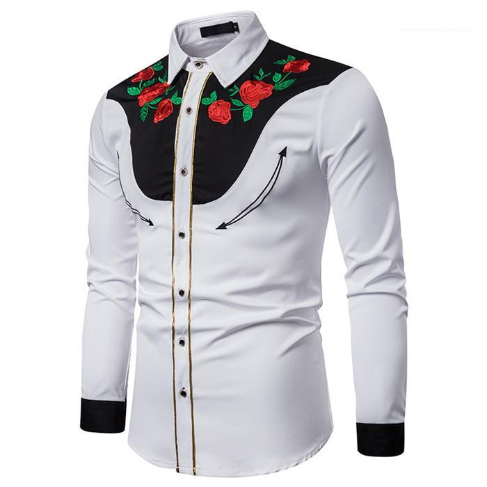 Shirts Estilo Casual Shirt para Homem Moda Mens Rose Bordados Patchwork Mens camisas de grife da rua lapela Long Neck Sleeve