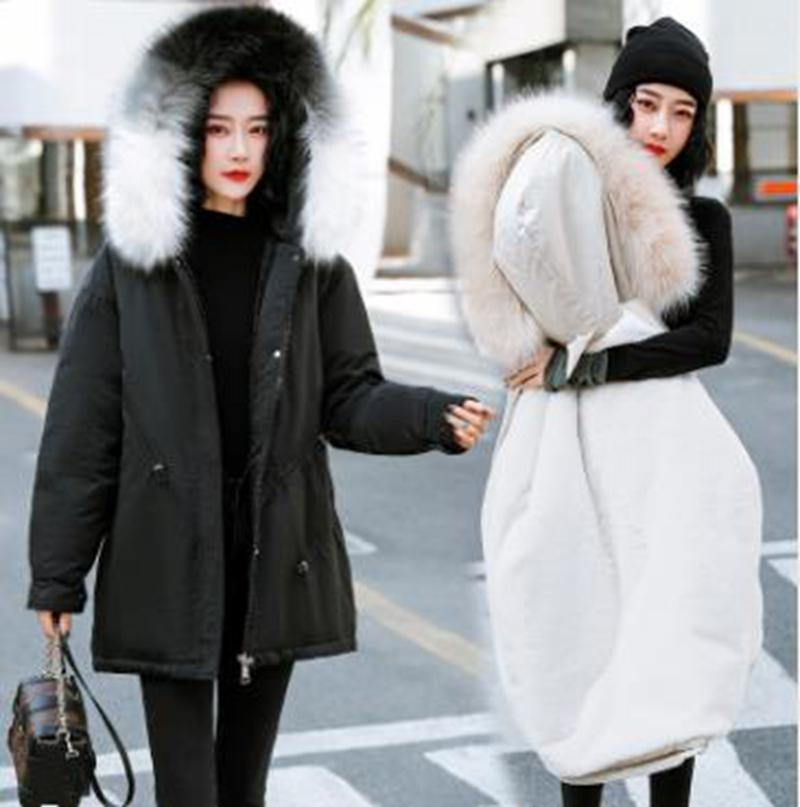 ropa de invierno cuello de piel de longitud media de las mujeres al por mayor de invierno chaqueta con capucha