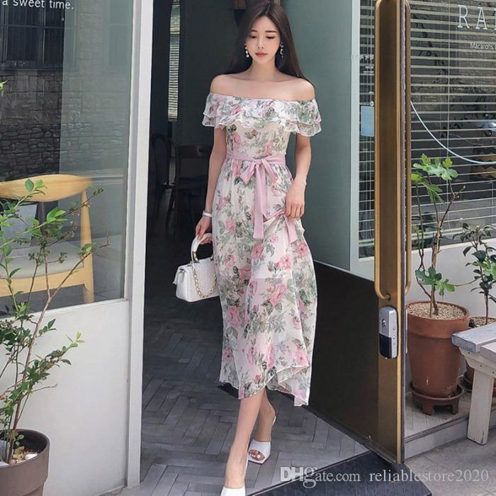 2020 여름 새로운 한국 버전의 기질 섹시 한 단어 칼라 연꽃 잎 레이스 허리 쇼 얇은 쉬폰 프린트 원피스