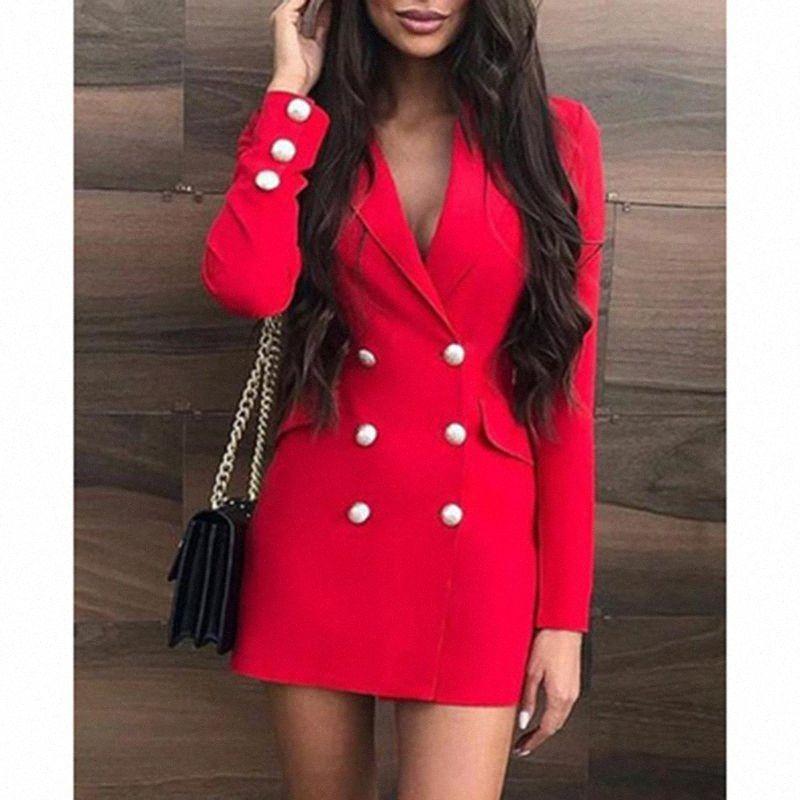 Autunno Inverno Blazer abito da donna pro-Vestito aderente elegante intaglio del collo Solido Sexy Red partito dei vestiti veste i vestiti da Donne lungo D IfkJ #