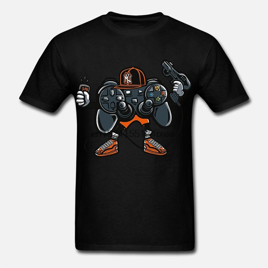Vamos a jugar 2 Estación consola de juego de los videojuegos Joystick Joypad para hombre embroma la camiseta ts5