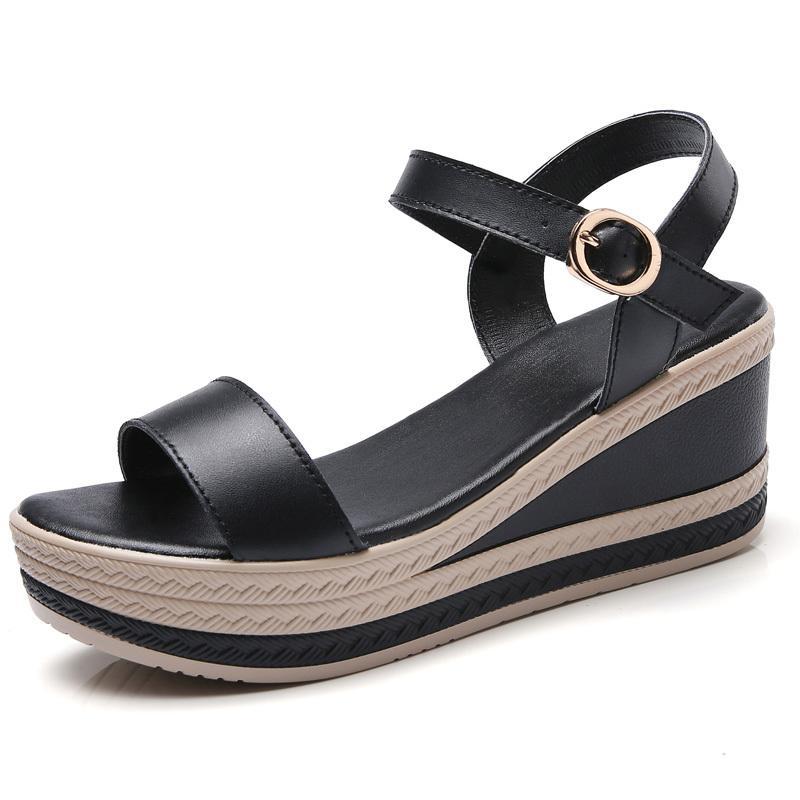 Plataforma plana YAERNI cuero de la hebilla de correa T básico mujeres de las sandalias de Elagant oficina del verano de los altos talones Y200620