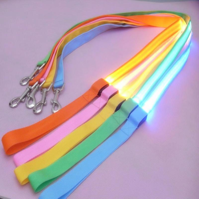 Nylon Led Light Up Dog Leash Night Safety Led Flashing Glow In Dark Dog Collar Pet Supplies Cat Drawing Small Lead Leash