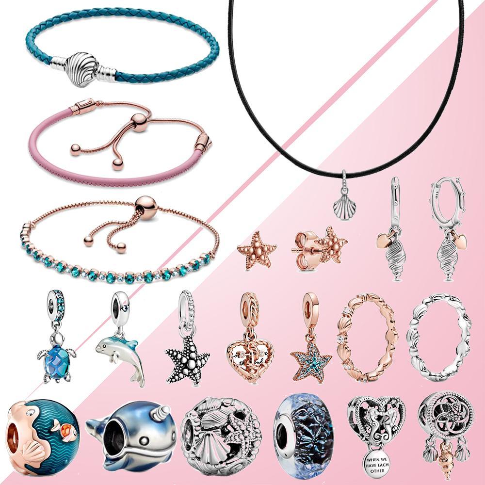 2020 Sommer 925 Silver Ocean Waves Fisch Blue Glass Meeresschildkröte baumeln Charm Armband Seesterne Ohrringe Rose Ring Lederhals