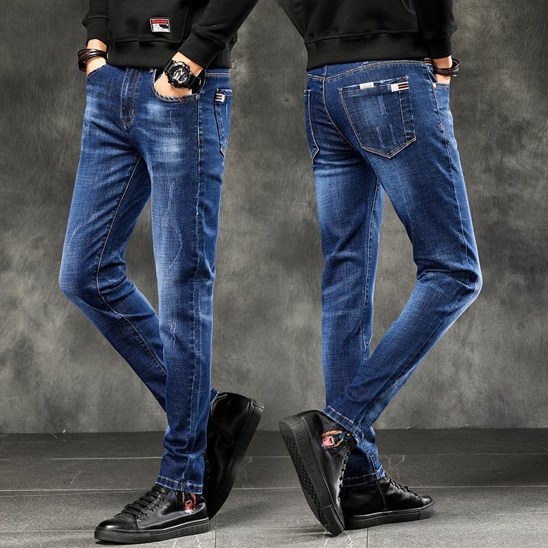wjZ9c Весна джинсы мужские 2020 Корейский штаны пригонки моды и молодежи и джинсы случайные Autumn мужские брюки моды