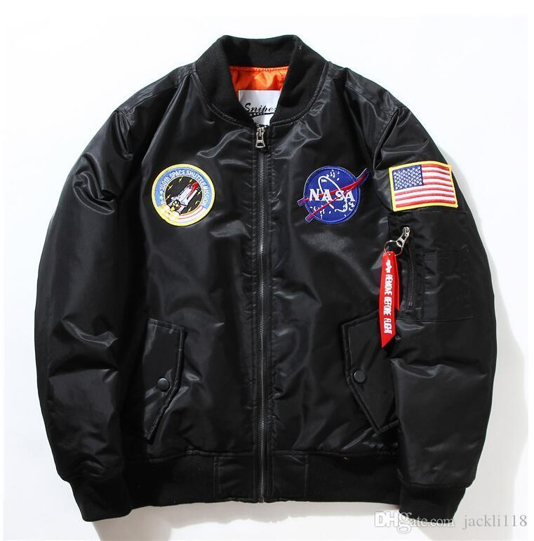 NASA Donanma Erkekler MA1 Bombacı Jacket kalın Insignia USAF Coats Erkek Ceket Nakış Beyzbol Askeri ceket için ceket uçan