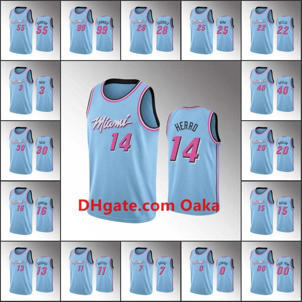 2020 Miami 13 Heat 13 Men Tyler Herro Jimmy Butler Kendrick Nunn Dwyane Wade Duncan Robinson Blue 2020 Vicewave 13 Nba Custom Jersey From Burial 17 35 Dhgate Com