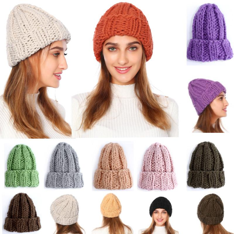 Cappelli invernali Donne Uomini Beanie Cap Moda Knit Beanie per le donne ragazze inverno caldo di spessore Cappelli Hip Hop Esterni Ski Cap Xmas HH9-2390