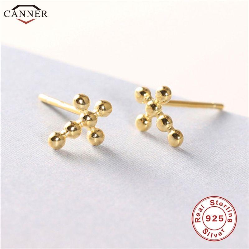 Pendientes Januarysnow Cruz color oro para las mujeres metálicos pequeños pendientes de los granos 925 H40 joyería de plata esterlina Mini pendientes de la manera