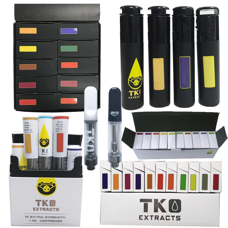 TKO Vape Cartridge Packaging Empty Thick Oil Carts 0.8ml 1ml Ceramic Coil Atomizer Dab Pen Wax Vaporizer 510 Thread E Cigarettes