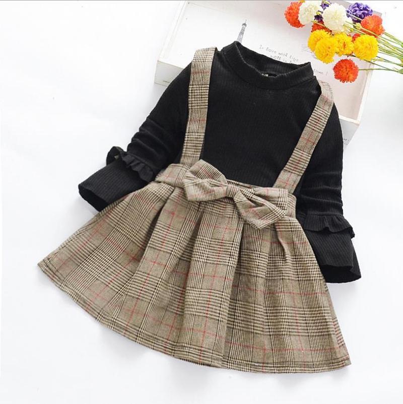 Çocuklar Elbiseler Kızlar Ekose Elbiseler Sahte 2 adet Uzun Kollu Tasarım Elbise Toddler Kız Prenses Elbise Butik Çocuk Giyim BT4758