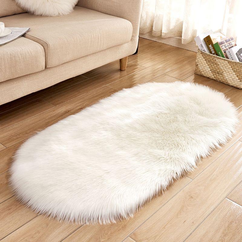 Ovale morbida soffice pelle di pecora Faux Fur Area Rugs Bianco Faux Fur Comodino Rugnordic Red Centre soggiorno tappeto piano camera da letto