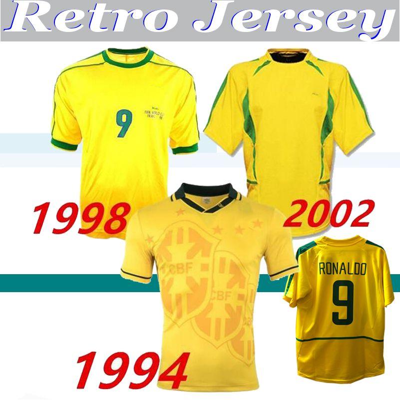 1994 1998 2002 Brasiliing الرجعية الفانيلة Rivaldo خمر قميص كارلوس روماريو رونالدو رونالدينهو 94 98 02 كرة القدم جيرسي كاميسا دي فيوتول